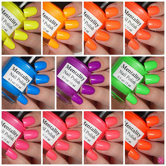 Mentality Nail Polish Neon Opaques Collection Swatches