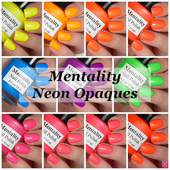 Mentality Nail Polish Neon Opaques Collection Swatches & Review