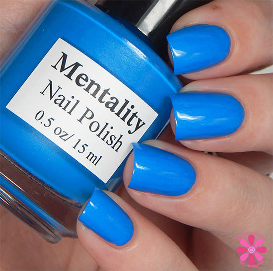 Mentality Nail Polish Neon Opaques Collection Neon Blue Opaque Swatch