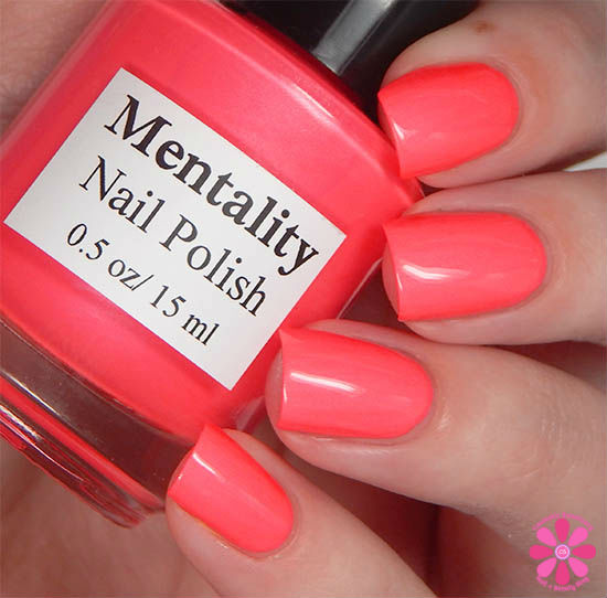 Mentality Nail Polish Neon Opaques Collection Neon Bright Red Opaque Swatch