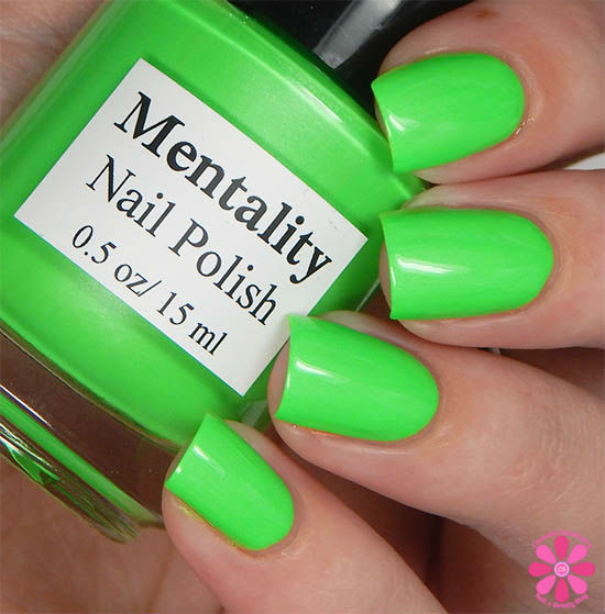 Mentality Nail Polish Neon Opaques Collection Neon Green Opaque Swatch