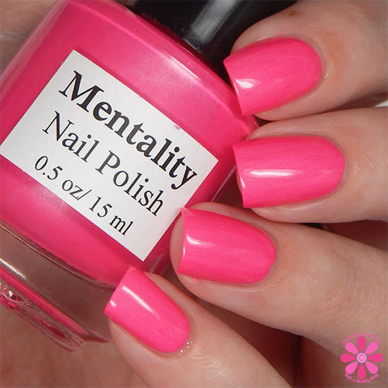 Mentality Nail Polish Neon Opaques Collection Neon Magenta Opaque Swatch