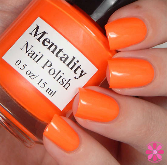 Mentality Nail Polish Neon Opaques Collection Neon Orange Opaque Swatch