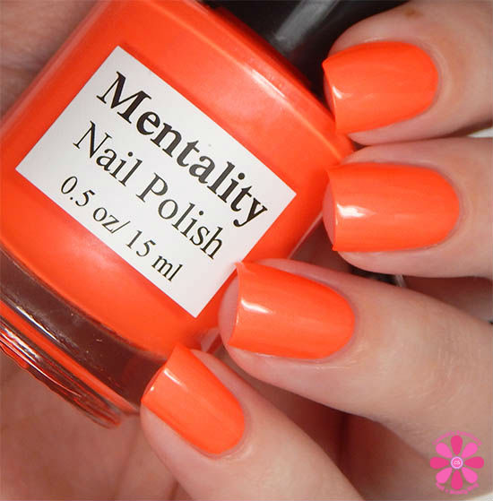 Mentality Nail Polish Neon Opaques Collection Neon Orange Red Opaque Swatch