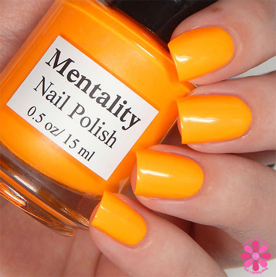 Mentality Nail Polish Neon Opaques Collection Neon Orange Yellow Opaque Swatch