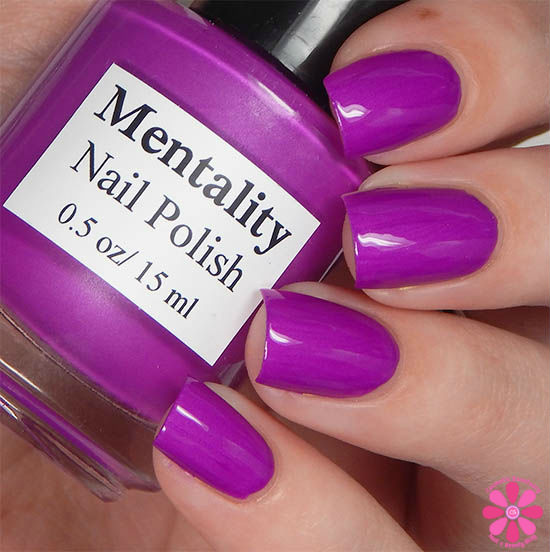 Mentality Nail Polish Neon Opaques Collection Neon Purple Opaque Swatch