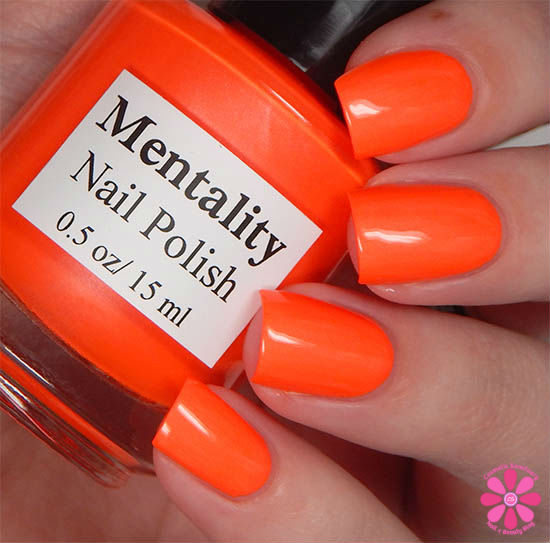 Mentality Nail Polish Neon Opaques Collection Neon Red Opaque Swatch