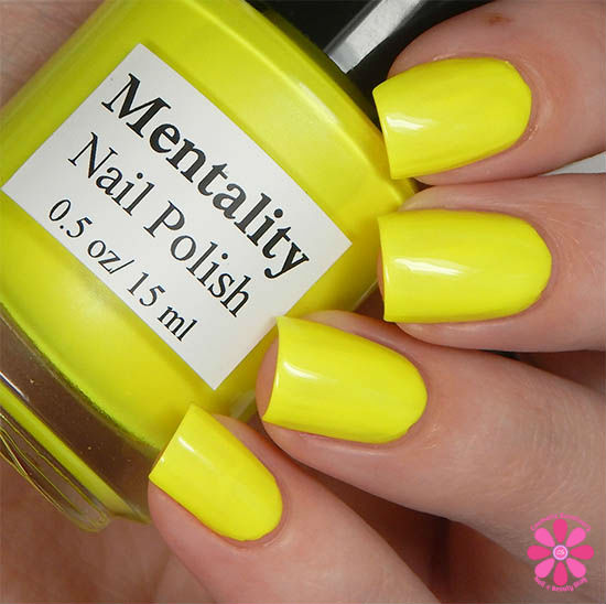 Mentality Nail Polish Neon Opaques Collection Neon Yellow Opaque Swatch
