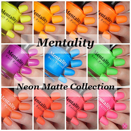 Mentality Nail Polish Neon Mattes Collection Swatches & Review