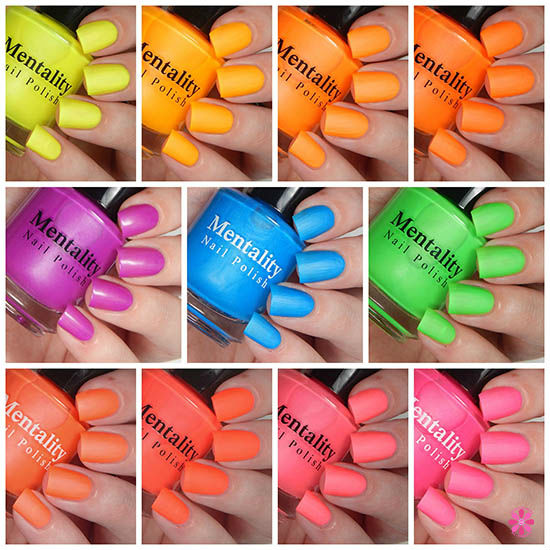 Mentality Nail Polish Neon Mattes Collection Swatches