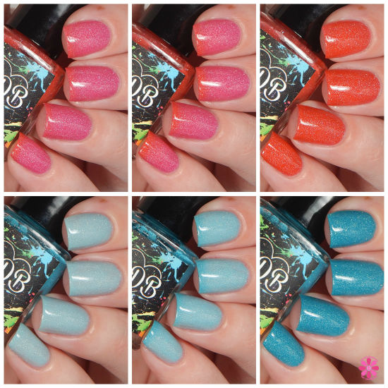 CDB Lacquers Summer Holo Thermals Sea Foam & Beachy Keen Swatches & Review