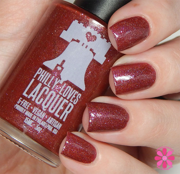 August Addicted to Holos Indie Box Philly Loves Lacquer Fallen Ember Swatch