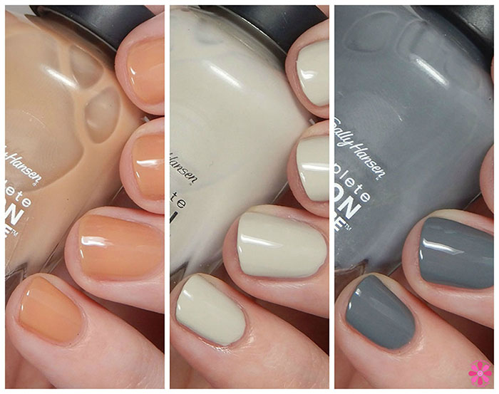 Sally Hansen Fall 2015 Designer Inspired Shades – Concrete Jungle, Winter Sky & Beige Glass Swatches & Review