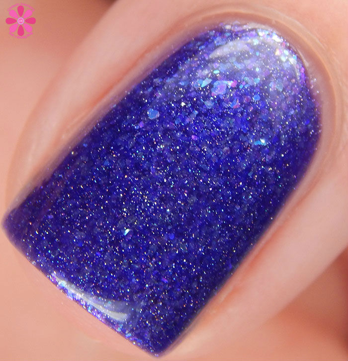 A Box Indied February 2016 Diamonds are Worthless Love a Holo Black Cat Lacquer I Want Your To Want Me Swatch Macro