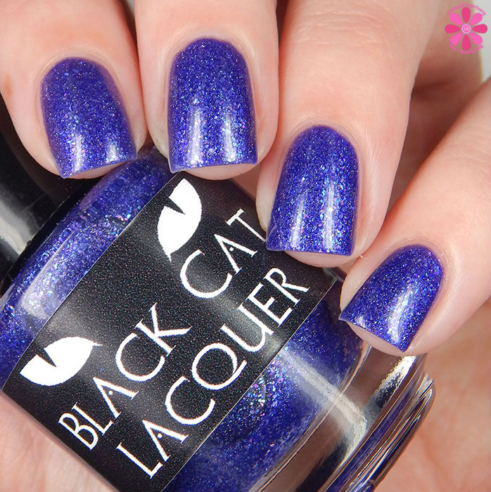 A Box Indied February 2016 Diamonds are Worthless Love a Holo Black Cat Lacquer I Want Your To Want Me Swatch Up