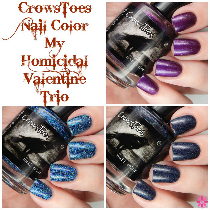 CrowsToes Nail COlor My Homicidal Valentine Trio Collage