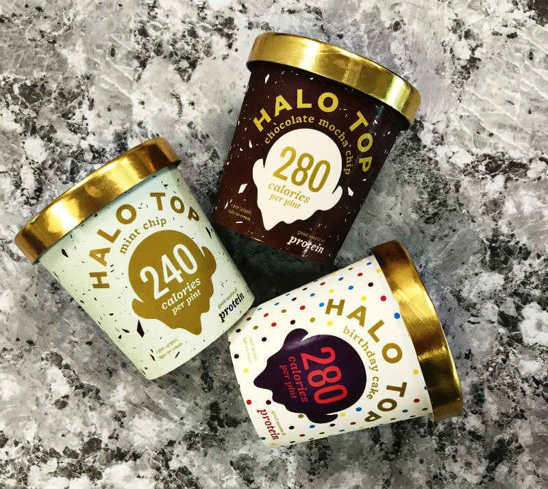Halo Top Ice Cream Mint Chip, Chocolate Mocha Chip & Birthday Cake