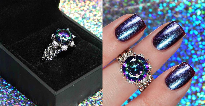 Jeulia Interchangeable Round Cut Created Rainbow Topaz Skull Ring