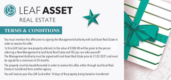 Leaf Asset Real Estate is giving you 500 dollar visa gift card