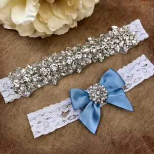 Ivory Lace Rhinestones Wedding Garter Set