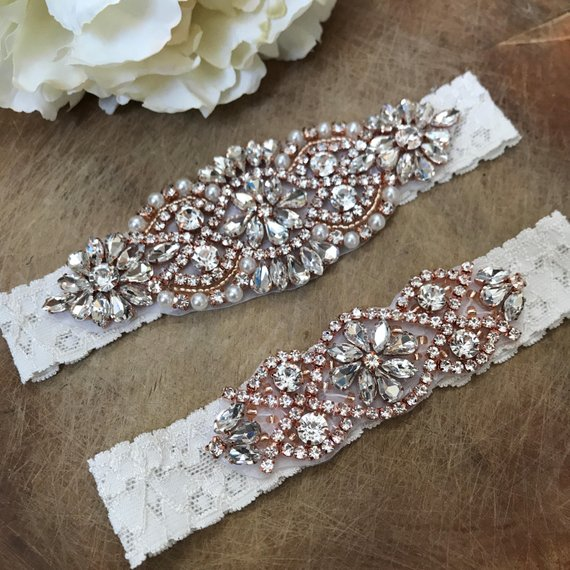 Beautiful Lace Garter With Rose Gold Rhinestone Applique
