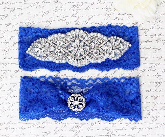 Royal Blue Lace Rhinestones Bridal Garter Set
