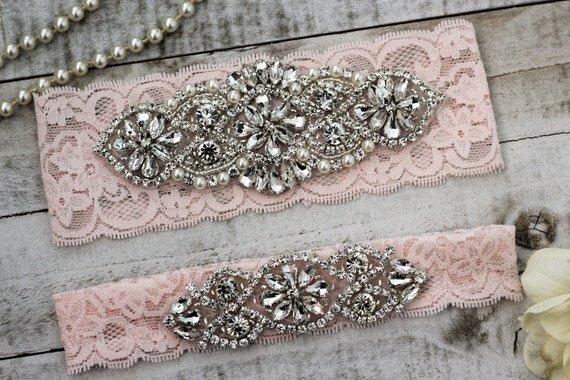 Pink Blush Wedding Garter
