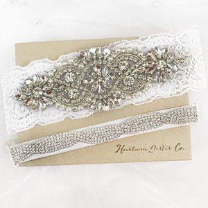 Lace and Rhinestone Wedding Garters