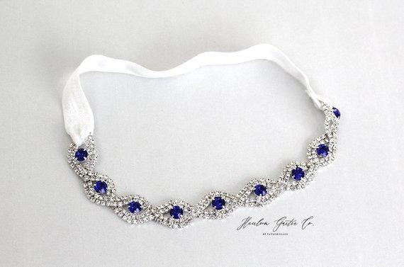 Blue Crystal Wedding Garter