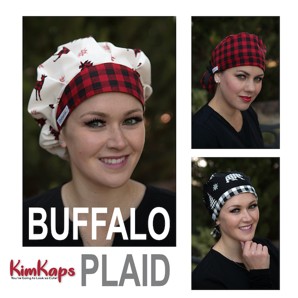 Special Edition Buffalo Plaid Scrub Hats