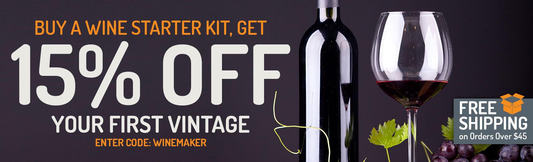 Buy a Wine Starter Kit, Get a Master Vintner Wine Recipe Kit 15% Off