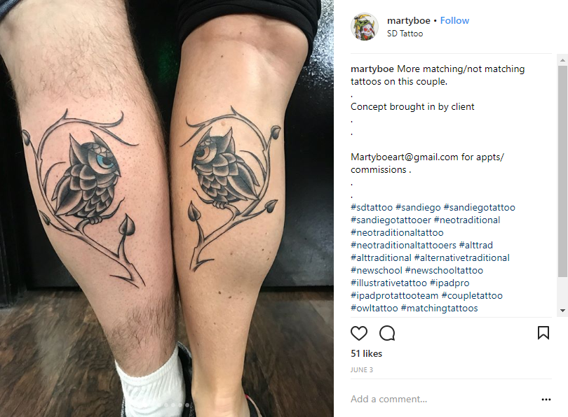 0ab02c9d9 This couple may have gotten each other's astrological constellations, but  when looked at separately, these tattoos are still cool and beautiful to  have!