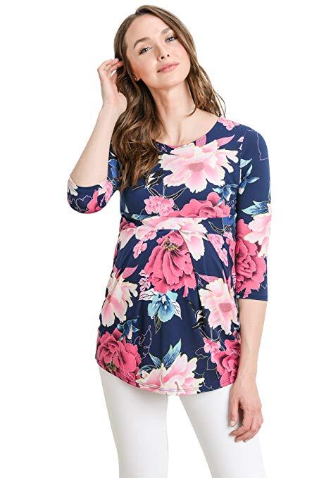ec894dd95d407 LaClef Women's Round Neck 3/4 Sleeve Front Pleat Peplum Maternity Top