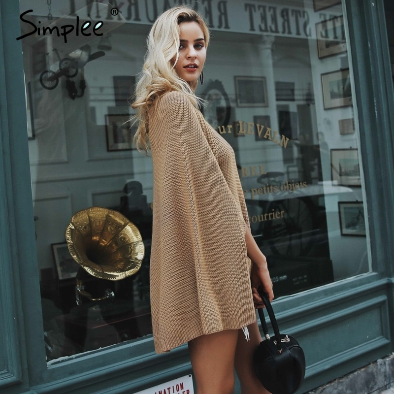 Simplee Knitted turtleneck cloak sweater Women Camel casual pullover ... 39518dd13