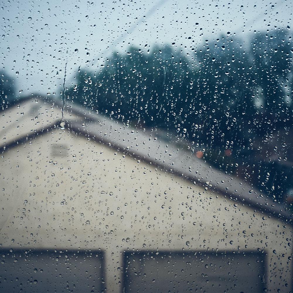 Heavy Rain in Open Metal Garage C