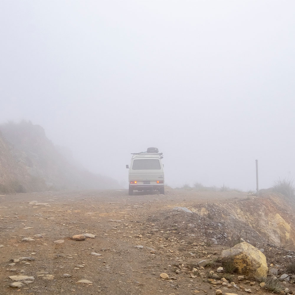 Van Driving on Wet Gravel 1