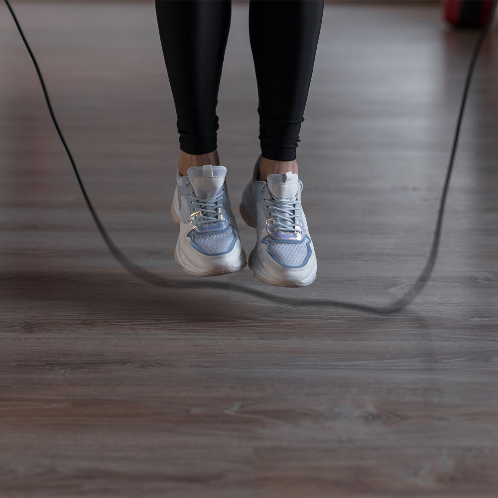 Jumping Rope in Yoga Studio