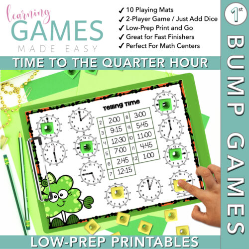 First Grade BUMP Math Game - March - Time to the Quarter Hour's featured image