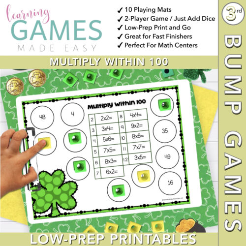 Third Grade BUMP Math Game - March - Multiply w/in 100