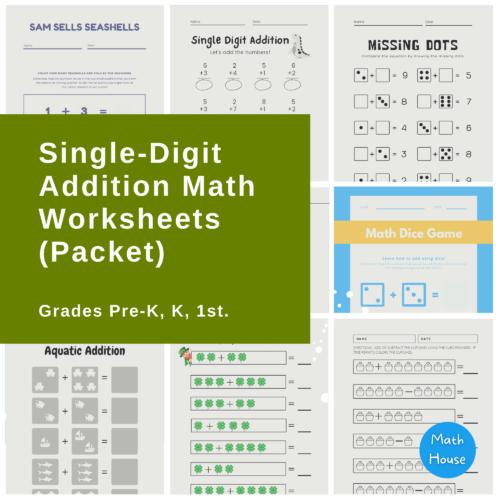 Single-Digit Addition Math Worksheets (Packet) #1