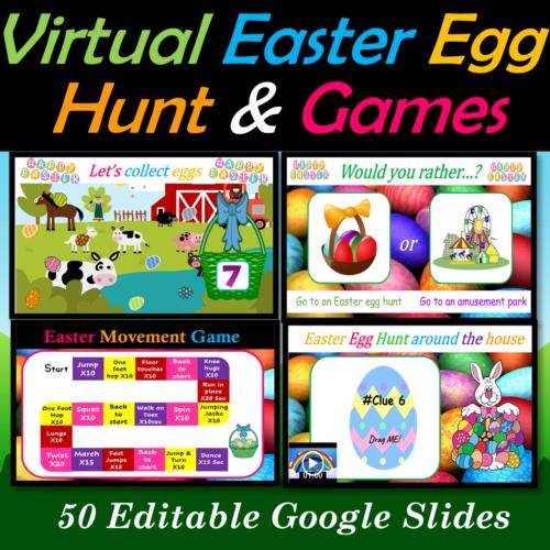 Virtual Easter Egg Hunt and Fun Friday Games bundle | Digital - 50 Google Slides