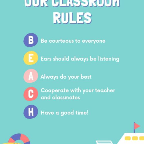 Beach Classroom Rules Poster