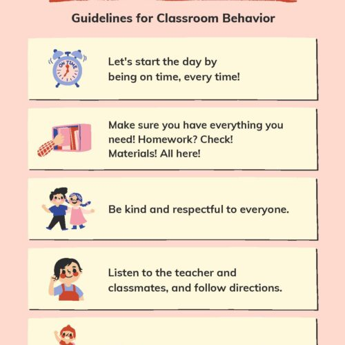 Pink and Cream Illustration Classroom Rules Poster