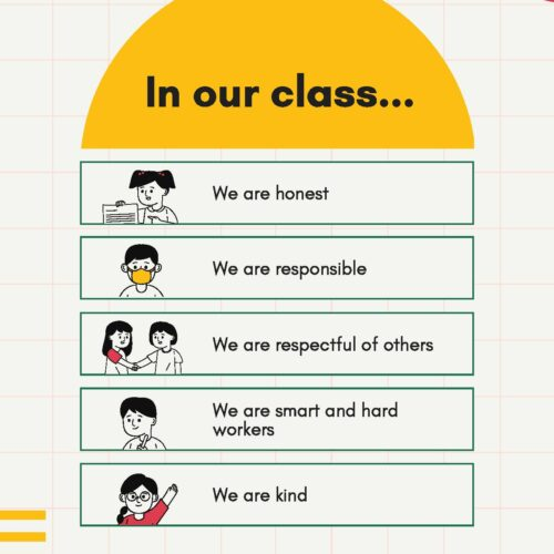 Geometric Classroom Rules Poster