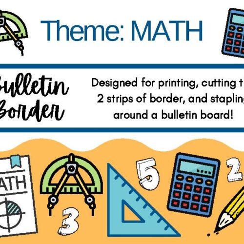 Math Themed Bulletin Board Decor Border