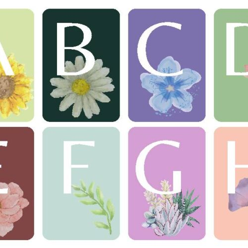 Floral Alphabet Uppercase Flashcards