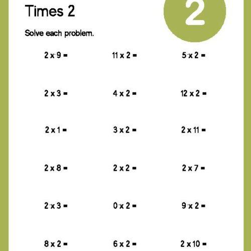 Multiplication Times 2 Worksheet