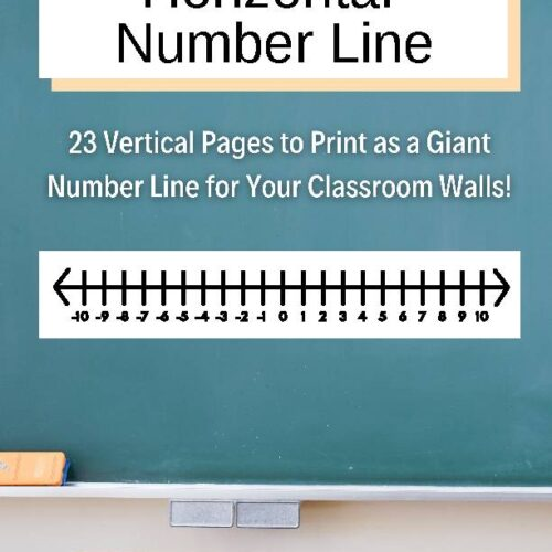 Horizontal Giant Number Line for Math Classroom Decor