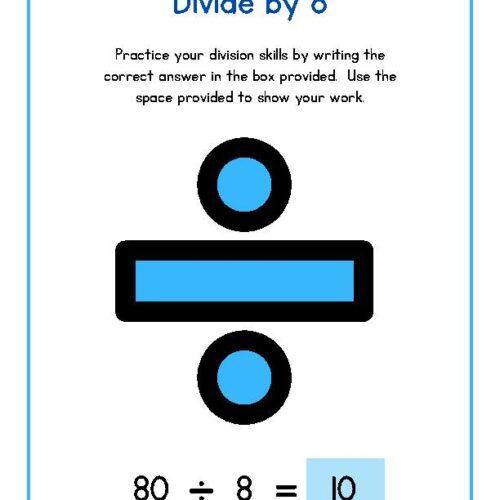 Divide by 8 Math Worksheet