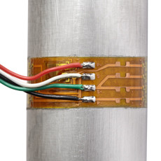 closeup or wired strain gage